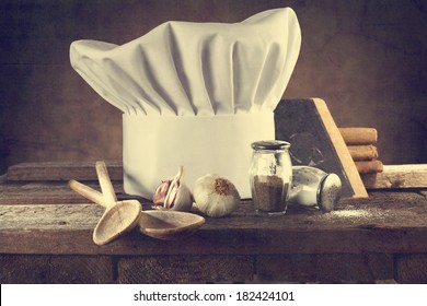 cook hat and kitchen