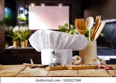 Cook hat and kitchen interior