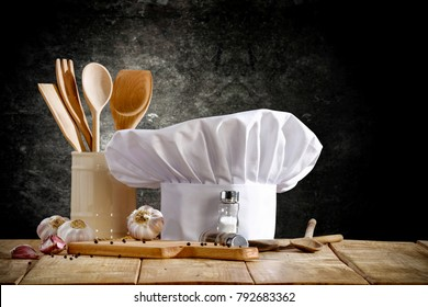 Cook hat and wooden table space