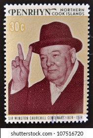 COOK ISLANDS - CIRCA 1974 : Stamp printed in Cook Islands , shows image of sir Winston Churchill hat, 1874-1974, circa 1974