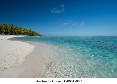 Cook Islands. Palmerston Island, a classic atoll, discovered by Captain Cook in 1774. Current population of 62 people, are all descendants of William Marsters. Beach view.