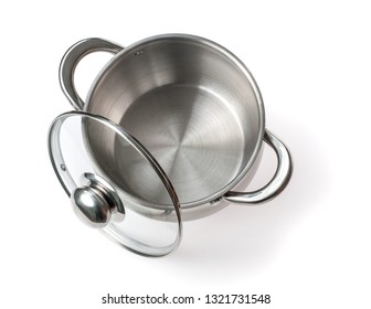 Cook pan with cap on white background . Top view