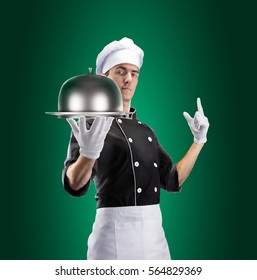 Cook with Restaurant Cloche With Lid. 3D rendering and photo. High resolution.