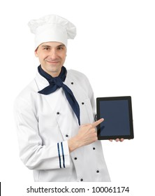 Cook with tablet computer. Isolated on white background