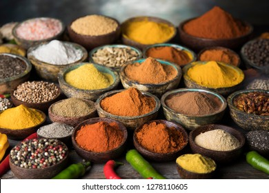 Cookbook and various spices background