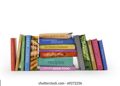 Cookbooks on a white background.