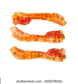 cooked bacon isolated