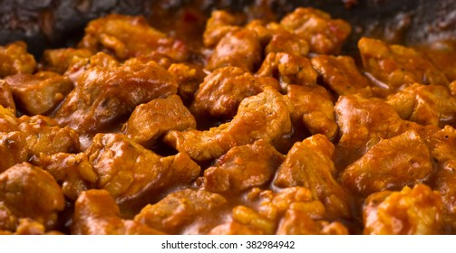 Cooked beef goulash in a pan