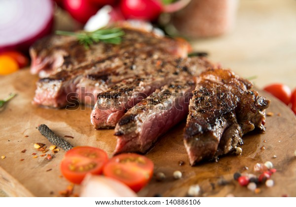 Cooked Beef  Steak with Vegetables and Spices