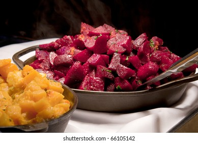 Cooked beets and sweet potatoes