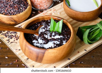 Cooked black sticky rice with coconut milk