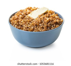 cooked buckwheat with butter on white isolated background