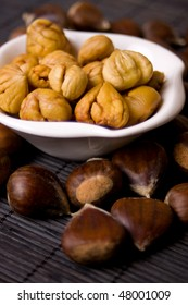 Cooked chestnut served as snack in a bowl