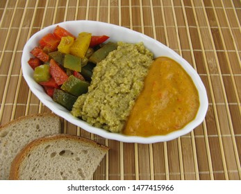 Cooked colorful paprika, olive paste and mashed paprika