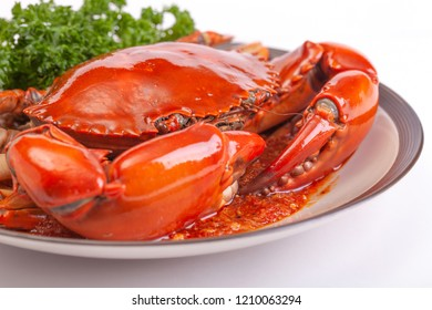 Cooked crab on a white background.