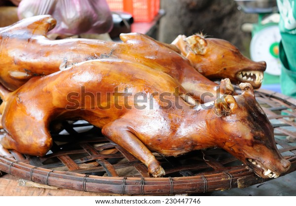 Cooked dog for buying on the stall in the capital city of Vietnam