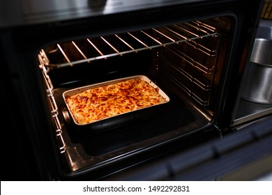 Cooked hot lasagna in the Oven