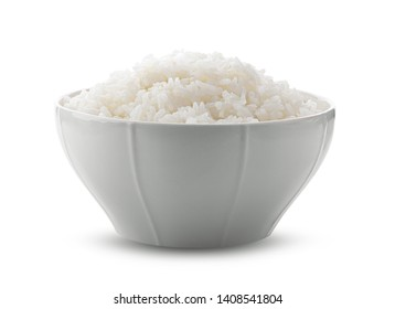 Cooked Jasmin Rice in white bowl on white background. full depth of field