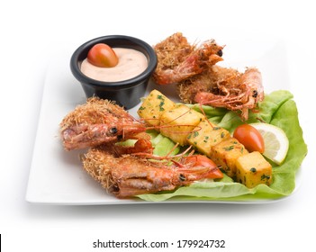 Cooked Lobsters  plate served with potato and sauce