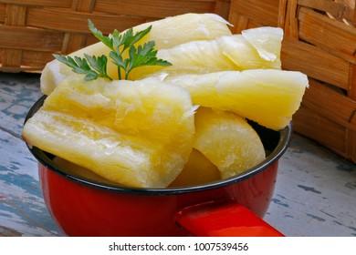 Cooked manihot esculenta (cassava, yuca, manioc, mandioca, Brazilian arrowroot)