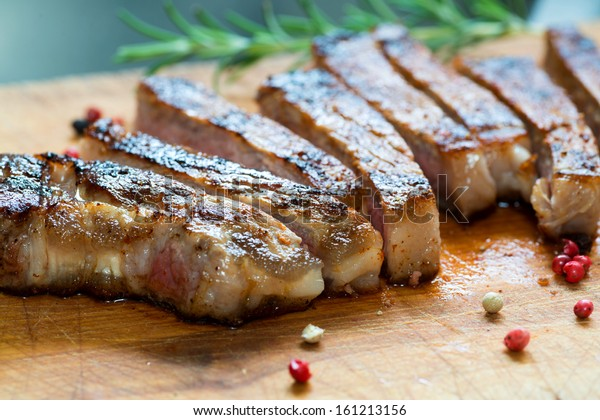 Cooked Medium Grass Fed Beef Steak Sliced in Long Pieces