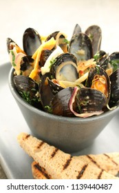 cooked mussels in dish