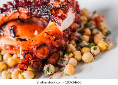 Cooked Octopus Plate with Chickpeas in a Portuguese Restaurant