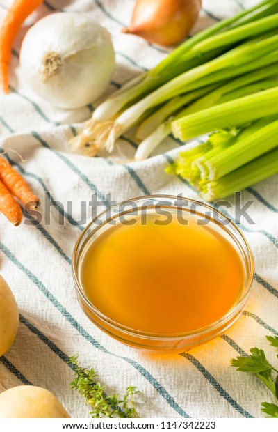 Cooked Organic Vegetable Broth in a Bowl