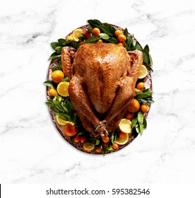 Cooked & Plated Turkey with vegetables, garnish. Top view with marble table top.