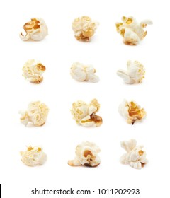 Cooked popcorn flake isolated over the white background, set of twelve different foreshortenings