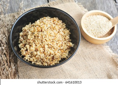 Cooked quinoa in a bowl.