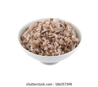 Cooked red rice in bowl isolated on white background