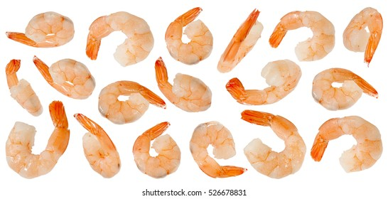Cooked refined shrimps isolated on white background
