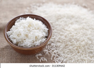cooked rice and grain on jute cloth jasmine grains