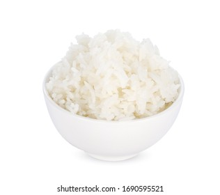 cooked rice in the white bowl isolated on white background