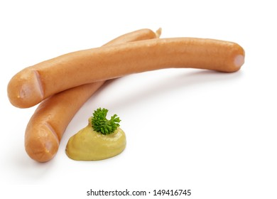 Cooked sausage with mustard on a white background