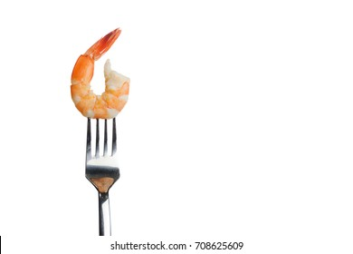 Cooked shrimp,steamed shrimp on fork on white background