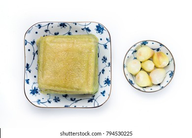 Cooked square glutinous rice cake. Chung cake.  Vietnamese new year food