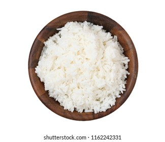 Cooked Thai jasmine rice isolated on white background.Clipping Path.