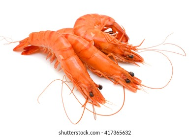 Cooked tiger shrimps isolated on white background