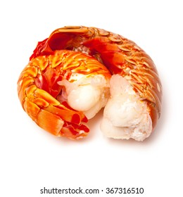 Cooked tropical Caribbean ( Bahamas )  lobster (Panuliirus argus) or spiny lobster tails isolated on a white studio background.