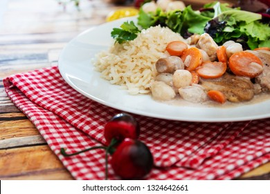 Cooked White Veal Stew and rice