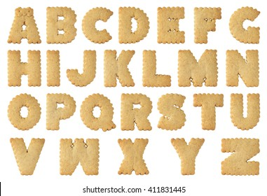cookie alphabet A-Z isolated on white background.with clipping path