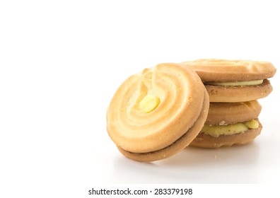 cookie biscuit with cream on white