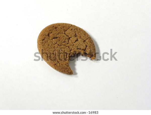 cookie with a bite out of it on a white background