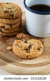cookie and black coffee in vintage style cup