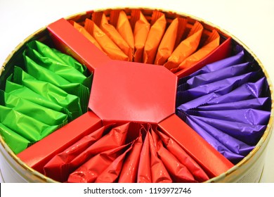 Cookie box. Cookie bag in orange, green, purple and red.Dessert.concept: Candy Package