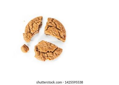 cookie chocolate broken on white background.