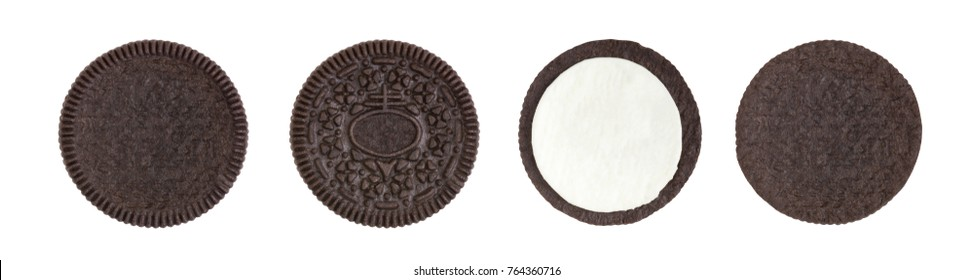 Cookie and cream of chocolate flavour in pieces of outside and inside isolated on white background (clipping path included)