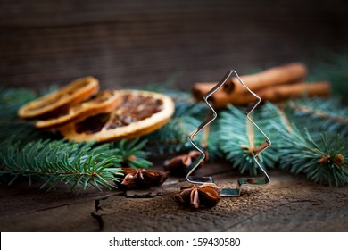 cookie cutter and christmas decoration with copy space